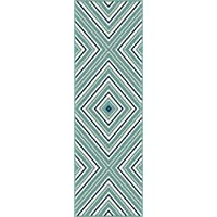 Charley Chevron Blue Easy-Care Indoor/Outdoor Runner Rug, 2.7 x 7