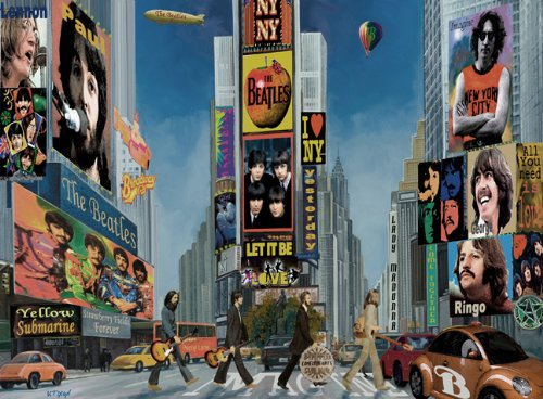 The BEATLES In Times Square Broadway New York - Art Painting On Canvas /giclee 16x20