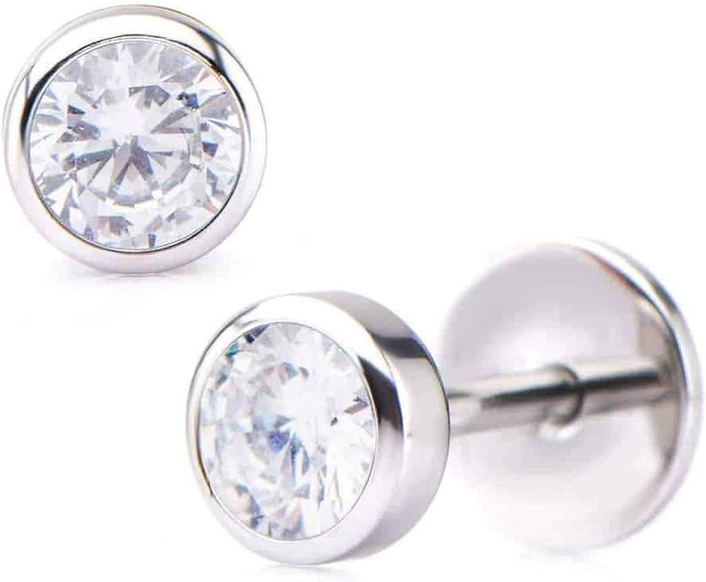 ComfyEarrings CZ Crystal Bezel Stud Earrings