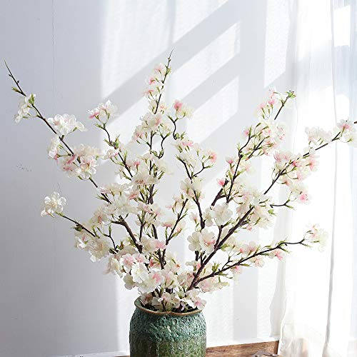 YUYAO Artificial Cherry Blossom Flowers, 4pcs Peach Branches Silk Tall Fake Flower Arrangements for Home Wedding Decoration,41inch (Light Pink)