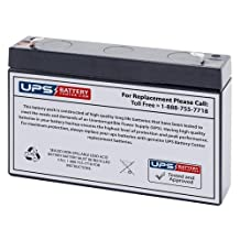6V 7Ah Compatible Sealed Lead Acid Battery with F1 Terminals by UPSBatteryCenter - Replacement for Lithonia Lighting ELB0607, Power Patrol SLA0925, Power Patrol BSL0925
