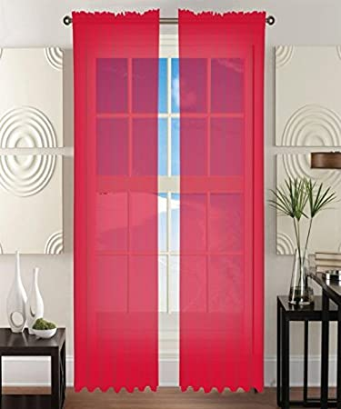 Red Curtains amazon red curtains : Amazon.com: Elegant Comfort® 2-Piece SHEER Window CURTAIN/PANEL ...