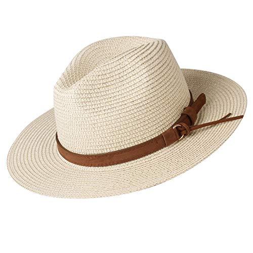 Womens Wide Brim Straw Panama Hat Fedora Summer Beach Sun Hat UPF50 (Style Cream, L) ()
