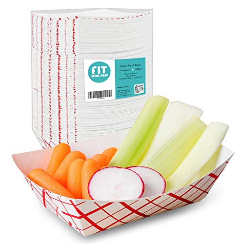 [250 Pack] 1 lb Heavy Duty Disposable Red Check Paper Food Trays Grease Resistant Fast Food Paperboard Boat Basket for Parties Fairs Picnics Carnivals, Holds Tacos Nachos Fries Hot Corn Dogs
