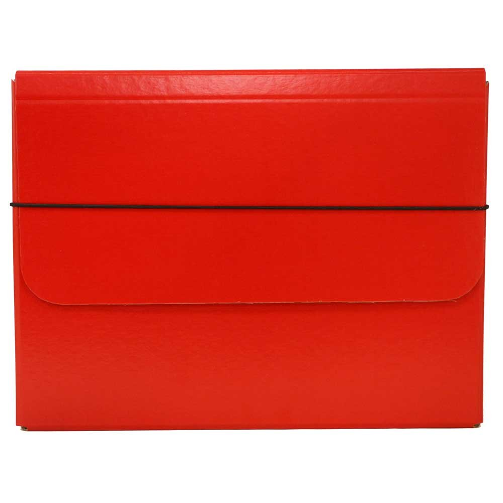 JAM Paper Strong Thick Portfolio Carrying Case with Elastic Band Closure - 10'' x 1 1/4'' x 13 1/4'' - Red - Sold Individually