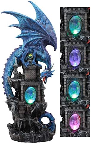 Ebros Large Blue Guardian Spyro Water Elemental Dragon On Rocky Mountain Castle Decorative Statue