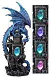 Ebros Large Blue Waterfall Spyro Dragon On Rocky Mountain Castle Decorative Statue With Automatic Color Changing LED Night Light Mythical Fantasy Decor Figurine 20.75″ Tall