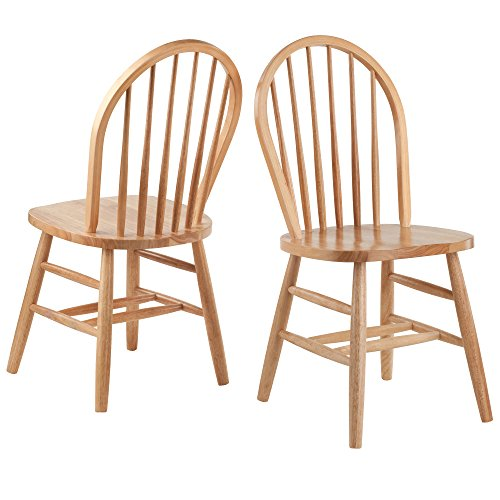 Stylish Living Room Char - Set Of Two With Arrow-Back Seat For Back Support, Round Legs, Four Crossbars For Stability, Sturdy Solid Wood Construction, Cottage Style, Natural Beechwood Finish