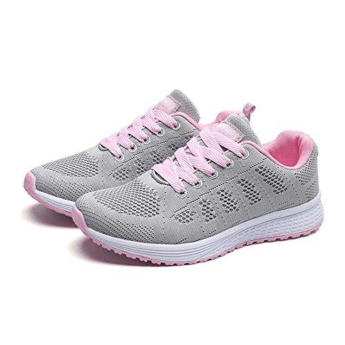 Ocasionales Las Deporte mujeresmanera QUICKLYLY de Las Gris Planas Zapatillas de Zapatillas Zapatos de taHHwAx
