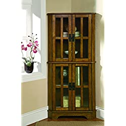 Coaster Traditional Warm Brown 4 Shelf Corner Curio Cabinet with Windowpane Style Door Fronts