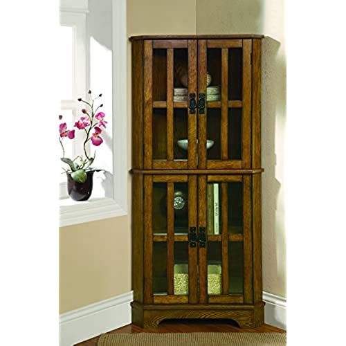 Ordinaire Coaster Traditional Warm Brown 4 Shelf Corner Curio Cabinet With Windowpane  Style Door Fronts