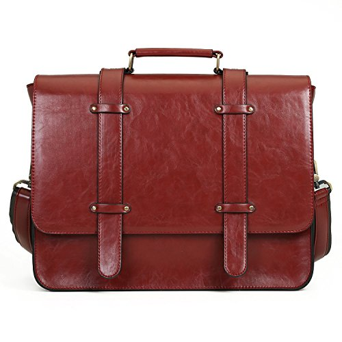 aptop Messenger Bag Briefcase Satchel Purse for Women and Men Fits 14 inch Laptop, Red (Womens Red Leather Briefcase)
