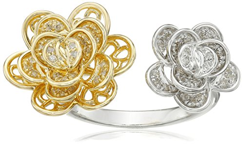 Yellow Gold Plated Sterling Silver Double Flower Diamond Ring (1/5 cttw, I-J Color, I2-I3 Clarity), Size 7