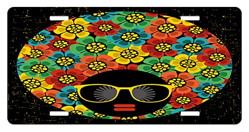 70s Party License Plate by Ambesonne, Abstract Woman Portrait Hair Style with Colorful Flowers Sunglasses Lips Graphic, High Gloss Aluminum Novelty Plate, 5.88 L X 11.88 W Inches, -