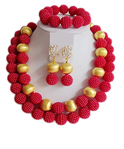 Nigerian Wedding African Beads Red And Gold Bridal Jewelry Sets (Custom Costume Jewelery)