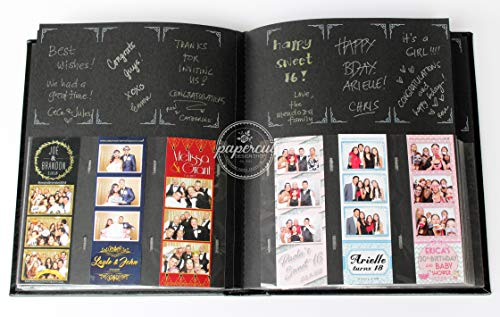 Paper Cut Design Shop Photo Booth Album Box Included Slip-in Plastic Slots Elegant Leatherette Black Album 2x6 Photos (Photo Booth Picture Album)