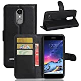 Aobiny Flip Magnetic Card Wallet Leather Cell Phone Case Stand Mobile Cover For LG Aristo LV3 V3 MS210 LG M210 LG MS210 (Black)
