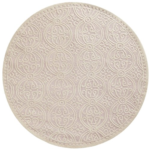 Safavieh Cambridge Collection CAM123M Handmade Moroccan Geometric Light Pink and Ivory Premium Wool Round Area Rug (6′ Diameter)