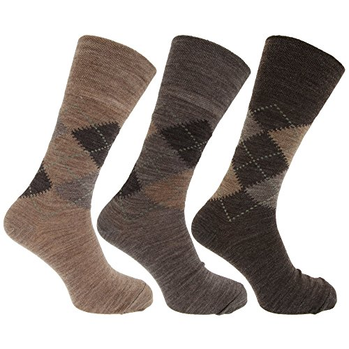 Mens Traditional Argyle Pattern Non Elastic Lambs Wool Blend Socks (Pack Of 3) (US Shoe 7-12) (Shades of Brown) (Argyle Top Pattern)
