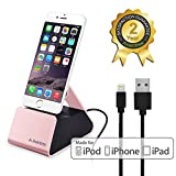 Avantree Desktop Aluminum Charging Dock with REPLACEABLE Apple MFi Certified Lightning Cable, Sync Charger Stand for iPhone 7, 7s, 6s plus, 6, etc