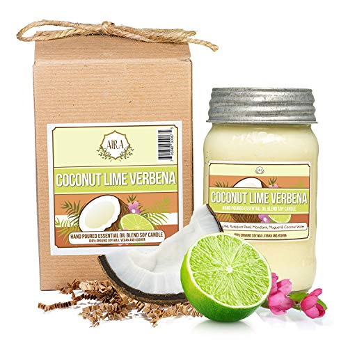 - Aira Soy Candles - Organic, Kosher, Vegan, in Mason Jar w/Therapeutic Grade Essential Oil Blends - Hand-Poured 100% Soy Candle Wax - Paraffin Free, Burns 110+ Hours - Coconut Lime Verbena - 16 Ounces