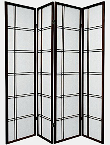 Legacy Decor 4 Panel Double Cross Shoji Screen Room Divider, Espresso Color