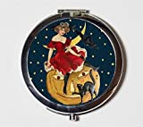 Victorian Witch Compact Mirror Halloween Black Cat Pumpkin Moon Pocket Mirror for Cosmetics