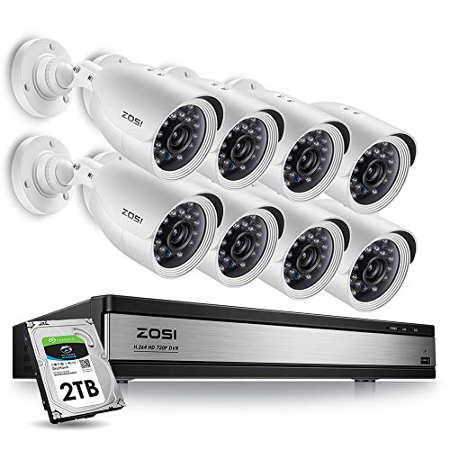 ZOSI Home Security Camera System 16 Channel,1080p Lite CCTV DVR Recorder and 8 x 720p Weatherproof Home Surveillance Bullet Camera Outdoor Indoor with Night Vision (2TB Hard Drive Included)
