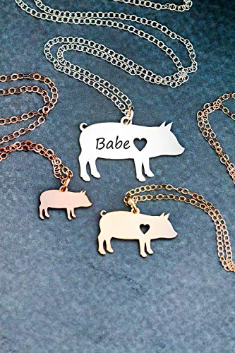 Pig Necklace - IBD - Farmer Gift - Personalize with Name or Date - Choose Chain Length - Pendant Size Options - 935 Sterling Silver 14K Rose Gold Filled - Ships in 1 Business Day