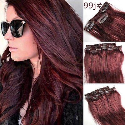 15inch 7pcs Straight Remy Clip in Real Human Hair Extension#99J red wine burgundy