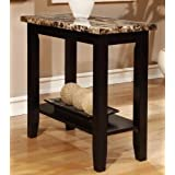 Rectagular Faux Marble Tabletop Chairside Sofa End Snack Accent Table, Black Finish