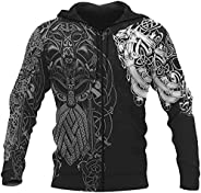 Men Casual Zip Hoodie, Viking God Odin & Fenrir Wolf 3D Tattoo Print Quick Dry Long Sleeve Coat with Po