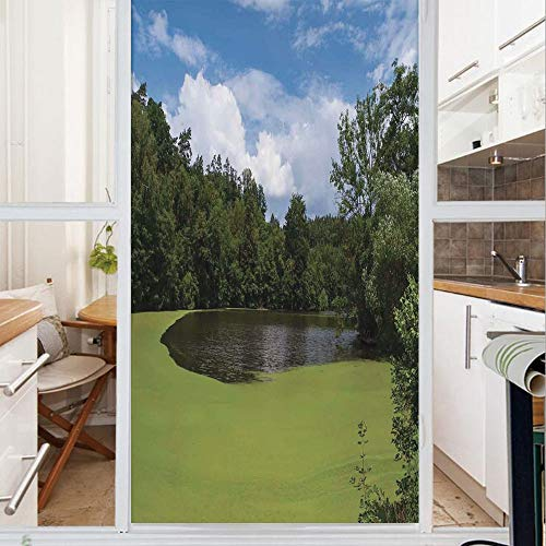 Decorative Window Film,No Glue Frosted Privacy Film,Stained Glass Door Film,Pond Full of Alga in North European Countryside Odd Magical Nature Themes Print,for Home & Office,23.6In. by 78.7In Green Bl