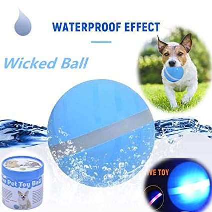 Wicked Ball - Your Pet's Joy when Home Alone, Interactive Pet Cat Jumping  Ball Toys LED Auto Rolling Flash Ball Amusing Toy for Pet Cat Dog (Blue1)
