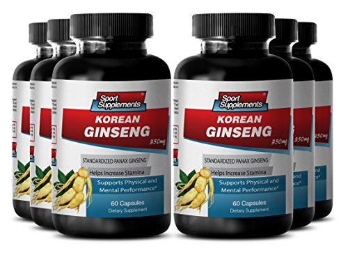 Korean Red Ginseng Drink - Korean Ginseng 350mg - Natural Korean Ginseng Herbal Enhancement for Sex Drive, Vitality and Endurance (6 Bottles 360 Capsules) by Sport Supplement