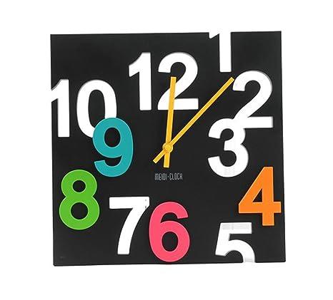 GUAZ Reloj de pared color reloj 3d estéreo hueco reloj digital moda reloj de pared silencioso