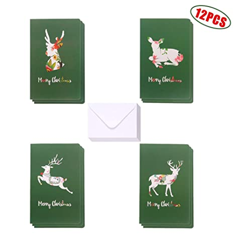 Green Art Colorful Deer Elk Merry Christmas Card Pack Set Of 12 Cards 4 Special Colorful Elk Designs 3 Of Each Design Include With 12 Envelopes