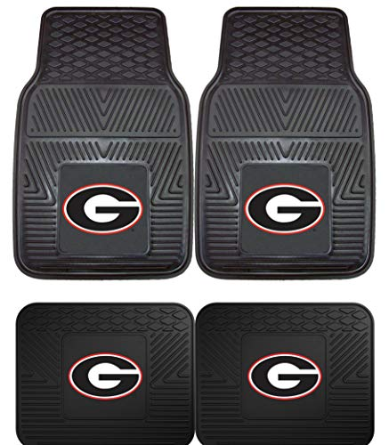 (Officially Licensed NCAA Set of Universal Fit Front and Rear Logo Rubber Automotive Floor Mats - Georgia Bulldogs)
