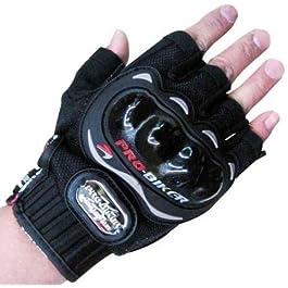Probiker Pro Biker Half Cut Racing Gloves (Black, Large)