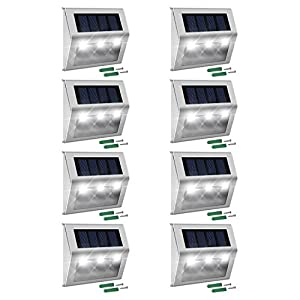JACKYLED Solar Step Lights 8-Pack LED Solar Powered Weatherproof Outdoor Lighting for Steps Stairs Paths Patio Decks