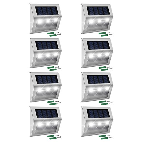 - Solar Step Lights with Larger Battery Capacity JACKYLED 8-Pack LED Solar Powered Weatherproof Outdoor Lighting for Steps Stairs Paths Patio Decks