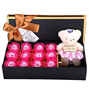 Rosesoap Hot Sales,12Pcs/Box Romantic Rose Soap Flower With Little Bear, Great For Valentine's Day Gifts/Wedding Gift/birthday Gifts (pink)