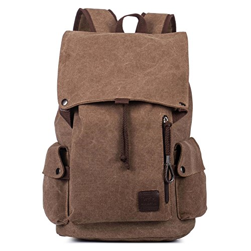 Canvas Rucksack School Backpack for 15.6 Inch Laptop Large Capacity Student Bookbag Casual Travel Bag for Men Women Brown by Genold