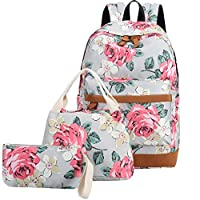 Bookbag Girls School Backpack Cute Floral Schoolbag Laptop Shoulder Bag Daypack for Teen Girls Boys
