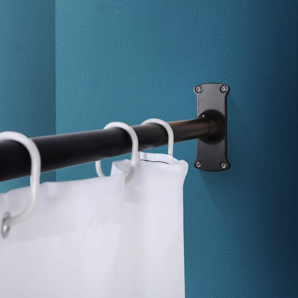 71,1 x 172,7 cm PrettyHome L-f/örmige Eck-Duschvorhangstange f/ür Badezimmer Badewanne Schwarz