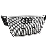 ZMAUTOPARTS 2009-2012 Audi A4 / S4 B8 8T RS5 Style Honeycomb Mesh Hex Grille Gloss Black with Silver Trim