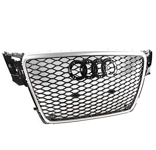 ZMAUTOPARTS 2009-2012 Audi A4 / S4 B8 8T RS5 Style Honeycomb Mesh Hex Grille Gloss Black with Silver ()