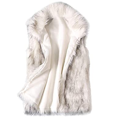 dc49f64d1214 Amazon.com  Women s Wool Vest Faux Fur Turn-Down Stand Collar Sleeveless  Solid Color Coat Jacket  Clothing