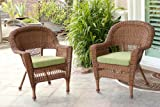Jeco W00205-C_2-FS029-CS Wicker Chair with Green Cushion, Set of 2, Honey/W00205-C_2-FS029-CS