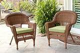 Jeco W00205-C_2-FS029-CS Wicker Chair with Green Cushion, Set of 2, Honey/W00205-C_2-FS029-CS